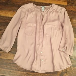 Blush Pink H&M Button Down Blouse